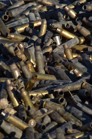 Backgrounds Bullet Casings Close-up Day Full Frame Gun Range Indoors  Industry Large Group Of Objects Metal No People Rusty Work Tool