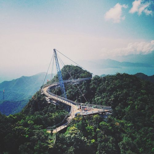 High angle view of Langkawi skybridge in Kuah, Malaysia