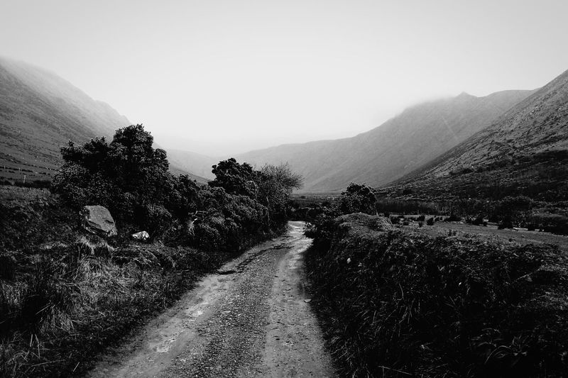 Glennahoo Dingle Co. Kerry Ireland West Of Ireland Outdoors Mountain Trail Black & White Misty Hiking Landscape Mountains Bohereen Glen