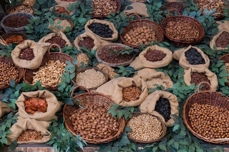 High angle view of various dried food displayed at market stall