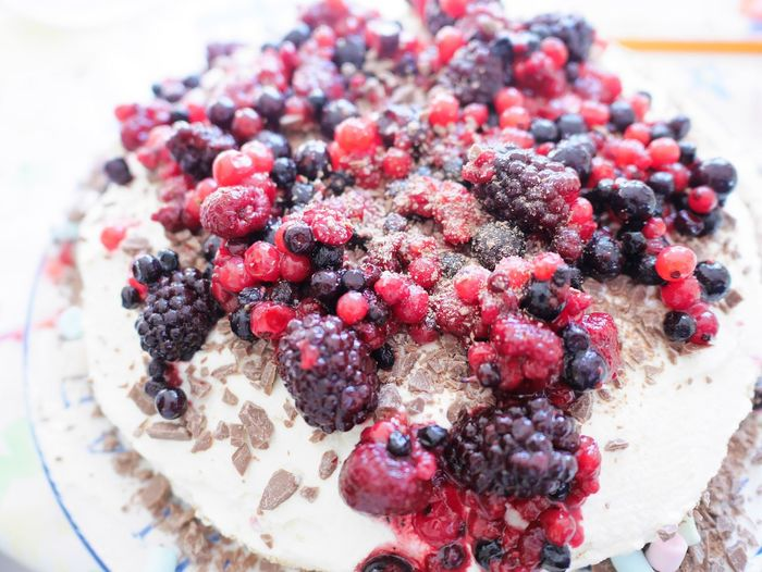 High Angle View Of Berries On Cake