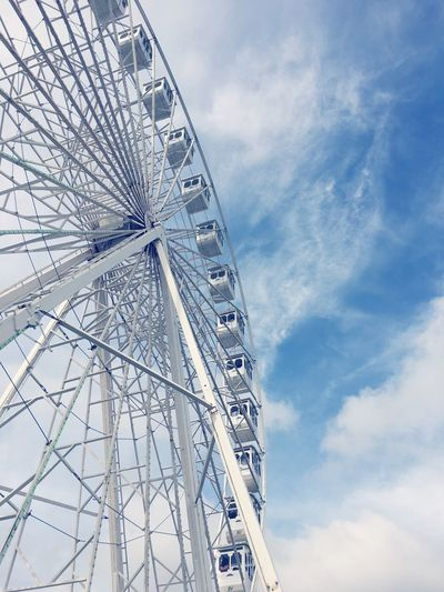 Ferris Wheel Sky Amusement Park Amusement Park Ride Ferris Wheel Cloud - Sky Low Angle View Arts Culture And Entertainment No People Tall - High