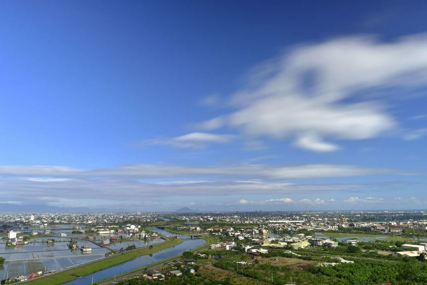 Plain rural scenery, broad and beautiful, fresh and natural. Farmland Ilan Natural Scenes Taiwan Architecture Blue Sky And White Clouds Building Exterior Built Structure City Cityscape Cloud - Sky Countryside Day Fresh Lanyang Plain Nature No People Outdoors Residential Building River Sky Turtle Island Water