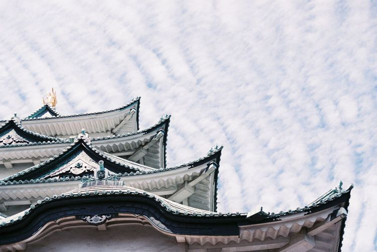 nagoya castle Analog Analogue Photography Architecture Blue Building Exterior Built Structure Cloud Cloud - Sky Cloudy Famous Place Film Filmphoto Fuji Fuji Superia X-Tra 400 High Section Low Angle View Nagoya Castle Ornate Outdoors Religion Roof Sky Spirituality Travel