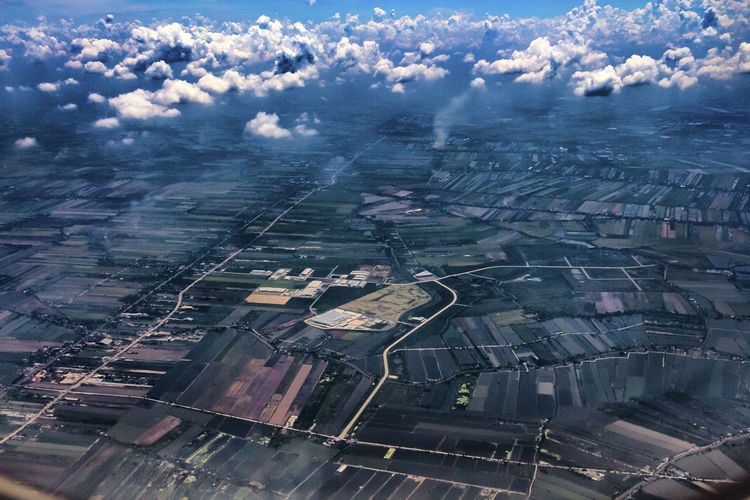 Bangkok from among the clouds Aerial View Agriculture Beauty In Nature Cloud - Sky Day Landscape Nature No People Outdoors Patchwork Landscape Rural Scene Scenics Sky Tranquil Scene Tranquility