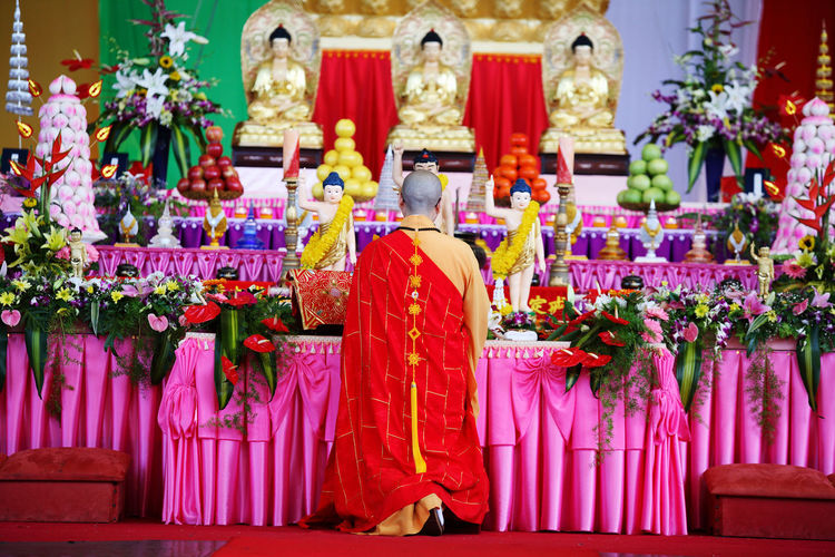 Bhiksu Buddha Statue Buddhism Buddhist Temple Ceremony Day Hanging No People Outdoors Pray Red Tradition Vacations