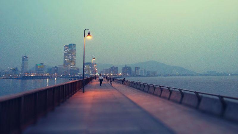 Twilight Sea City Lights