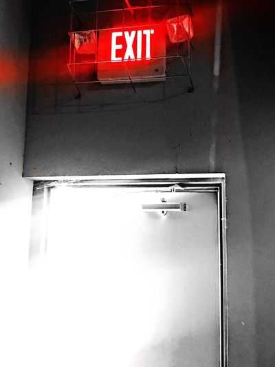 Exit Text Communication Guidance In Through The Out Door Indoors  Emergency Sign Red Illuminated Close-up Day Black & White Splash Of Red No People Red Red Sign