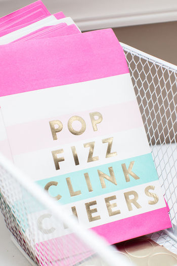 Cheers Clink Close-up Fizz Giftbag Paper Pink Color Reminder Still Life Treat Bag
