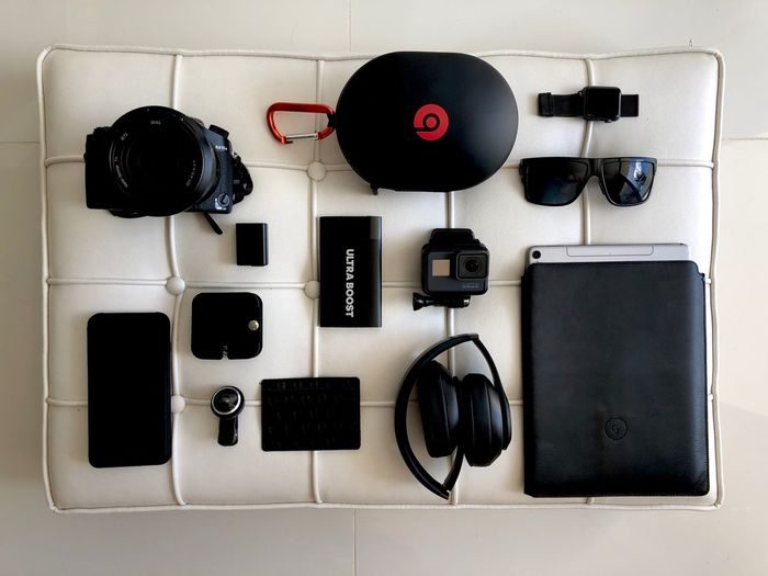 Travel Accessories Travel Technology Directly Above Music Connection Headphones Indoors  Wireless Technology Cable Portable Information Device Arts Culture And Entertainment Camera - Photographic Equipment First Eyeem Photo