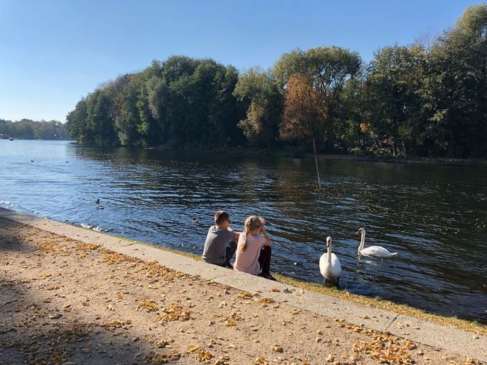 Boy Girl Swans Havel Germany IPhone X IPhone X Photography Caputh Havel Autumn colors Water Real People Tree Lifestyles Nature Leisure Activity Plant Day Sitting Sunlight Outdoors Sky Adult Two People Beach People Togetherness Men Women Lake