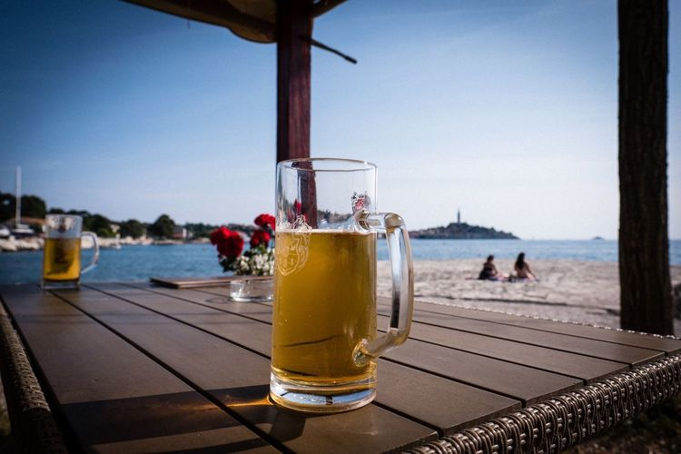 Beer Beer Beach Rovinj Croatia Water Drink Sea Sky Food And Drink Refreshment Alcohol Nature Glass Beach Drinking Glass Outdoors