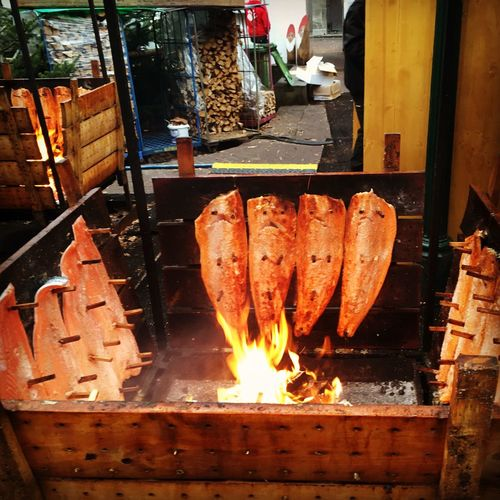 Fire Fish Food Food And Drink Food Prep Market Food Market Stall Open Fire Outside Salmon Smoked Fish Smoking Food Winter