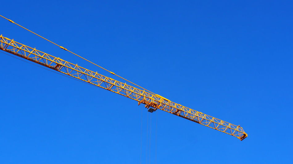 Crane Crane - Construction Machinery EyeEm Selects Clear Sky Blue Flying Business Finance And Industry Sky Construction Tall - High