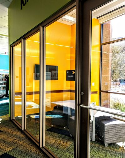 kindness room Minimal Nopeople Trainlike Spaces Glasswalls Architecture Publicspaces Yellow Window
