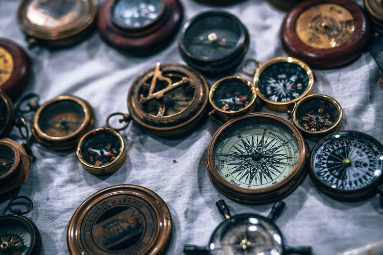 High angle view of navigational compasses at market stall