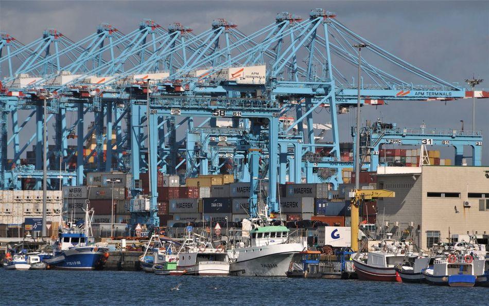 Algeciras Blue Color Container Crane Harbor Commercial Dock Day España Freight Transportation No People