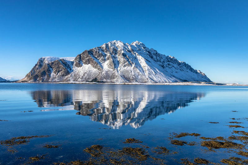 Reflection of snowcapped mountains in lake against clear blue sky
