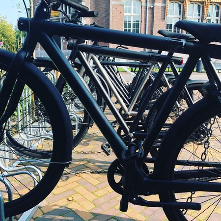 Transportation Land Vehicle Metal Bicycle Stationary Mode Of Transport Outdoors Bicycle Rack Day Wheel No People Building Exterior Built Structure Architecture Close-up City Vanmoof Ebike Iamsterdam