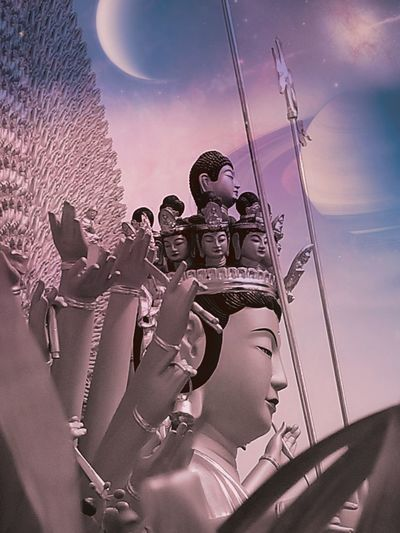 Hearer of the Cries of the World Buddha No People Colorful Sky Sky Peaceful Home Altars And Shrines Buddha Cosmic Faces Cloud - Sky