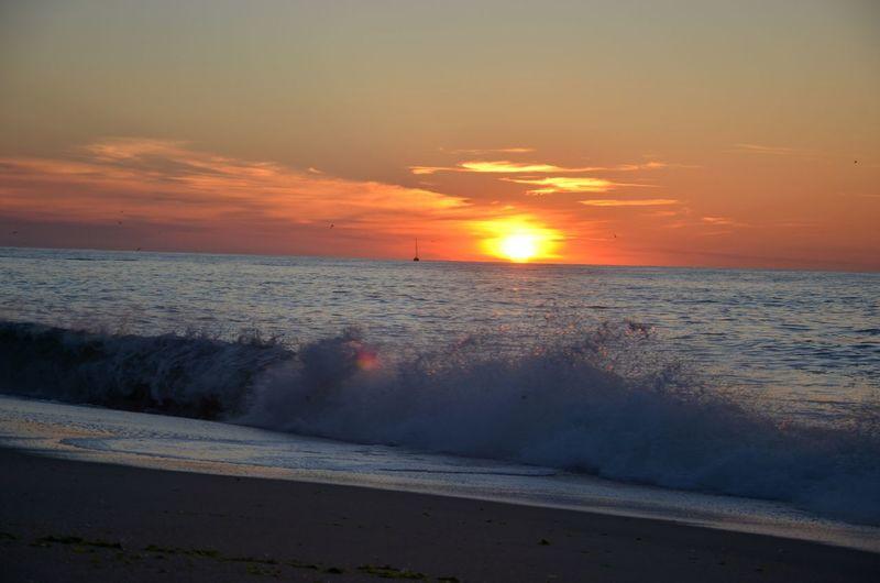 Ocean Newjersey Pointpleasant Water Wave Low Tide Sea Swimming Nautical Vessel Sunset Beach Horizon Beauty