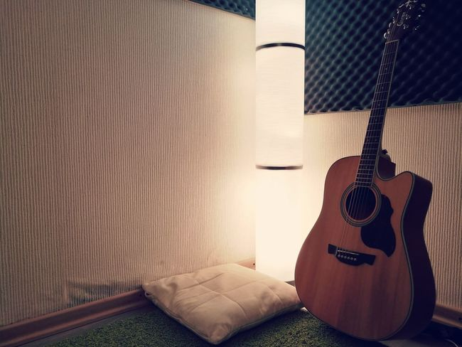Bedroom Indoors  Home Interior Night Lights Light Home Green Cozy Illuminated Carpet Rug No People Guitar Music Strings Pillow
