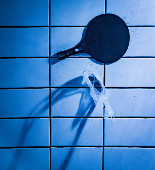 Blue Close-up Day Directly Above Drop Flooring Full Frame High Angle View Indoors  Metal Nature No People Pattern Table Tennis Bats Tile Tiled Floor Wall - Building Feature Water Wet White Color