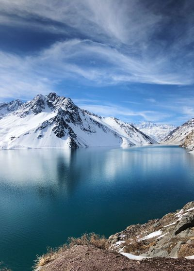 Cajon Del Maipo Chile Scenics - Nature Beauty In Nature Water Cold Temperature Winter Mountain Tranquility Snow Tranquil Scene Sky Cloud - Sky Snowcapped Mountain Nature Non-urban Scene Day No People Mountain Range Lake Mountain Peak