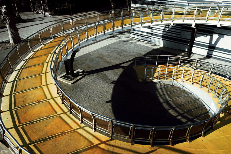 High angle view of empty spiral staircase in city