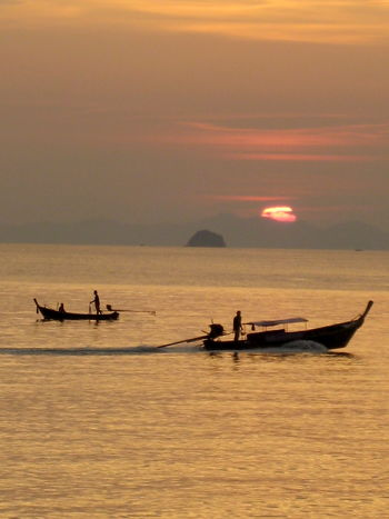 Thailand Impressions 7 Beauty In Nature Boat Boats Boatsmen Dawn Dusk Horizon Over Water Idyllic Nature Ocean Orange Color Sea Sky Sun Sunset Thailand Thailandtravel Tranquil Scene Tranquility Transportation Travelling Photography Vacations Water Waterfront The Great Outdoors - 2017 EyeEm Awards