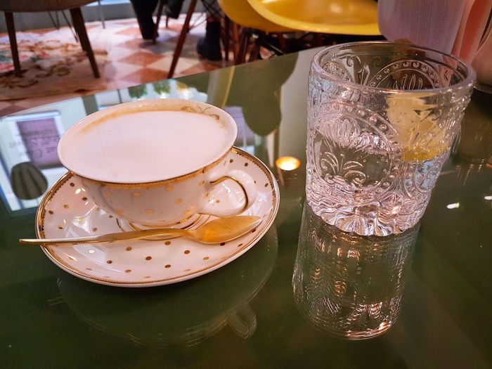 Drink Food And Drink Table Refreshment Indoors  High Angle View Drinking Glass Freshness Plate Serving Size Indulgence Close-up Healthy Eating Frothy Drink Day Real Italian Cappuccino Elégance Style