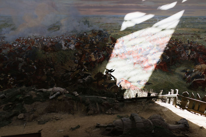 Battlefield Map Paintings Waterloo Cavalry Light And Shadow Military Museum Painting