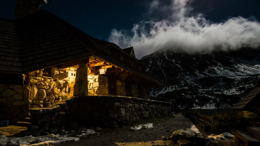 Tatra Mountains Abandoned Ancient Civilization Architecture Building Building Exterior Built Structure Cloud - Sky History Low Angle View Mountain Mountain Hut Nature Night No People Old Old Ruin Outdoors Rock Rock - Object Ruined Sky Solid Stone Wall The Past HUAWEI Photo Award: After Dark