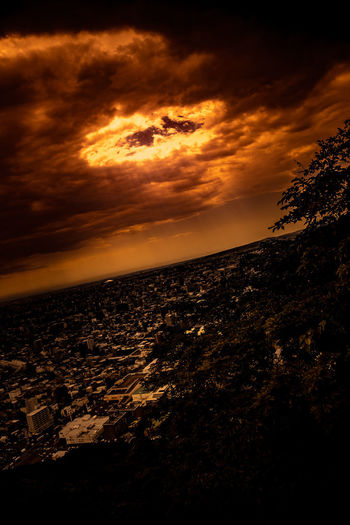 Sky Fire Meteor Ominous The Creative - 2018 EyeEm Awards Architecture Beach Beauty In Nature Cloud - Sky Dark Dramatic Sky Endoftheworld Fiery Sky Fire Horizon Land Nature No People Orange Color Outdoors Ring Of Fire Scenics - Nature Sky
