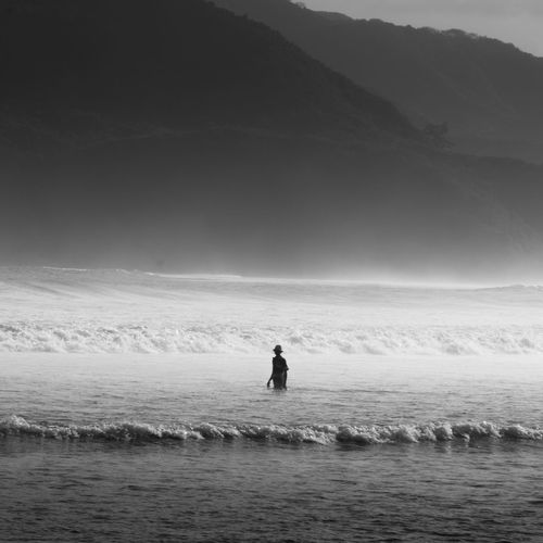 Sea One Person Adventure Only Men Outdoors One Man Only Day Water Nature Adult People Scenics Beauty In Nature Blackandwhite Humaninterest
