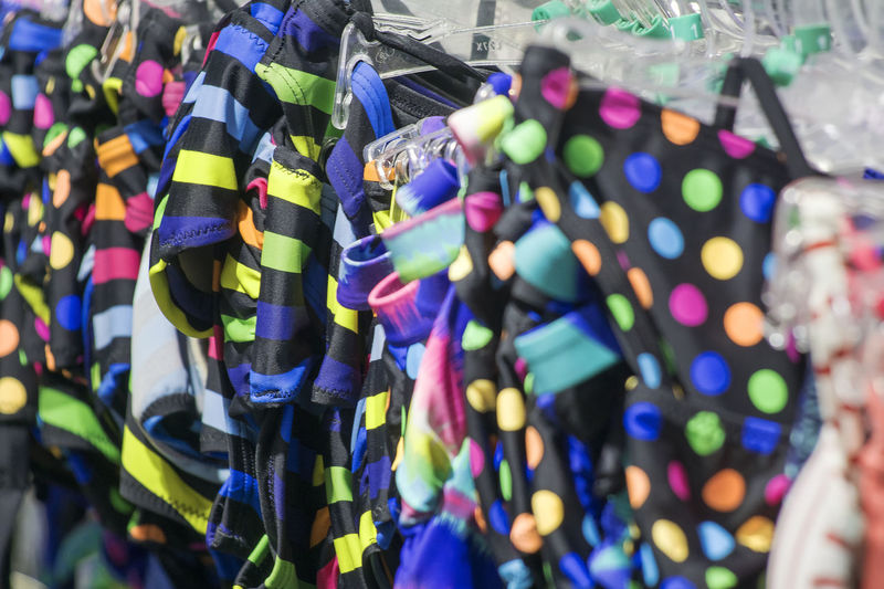 Close-up of clothing for sale at market