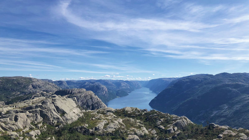 View on a hike to Preikestolen, Norway Fjordland Norway Fjordsofnorway Norway🇳🇴 Preikestolen Travel Photography Mountain Peak Mountain Range No People Non-urban Scene Panoramic Photography Rock Rock - Object Scenics - Nature Tranquil Scene Travel Destinations