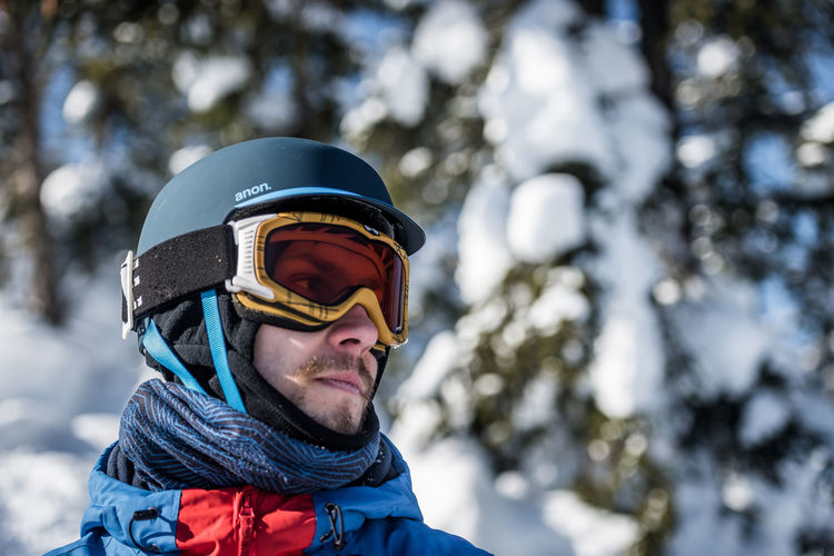 Portrait Headshot Leisure Activity Winter Cold Temperature One Person Snow Day Clothing Ski Goggles Sport Real People Warm Clothing Focus On Foreground Helmet Men Holiday Outdoors