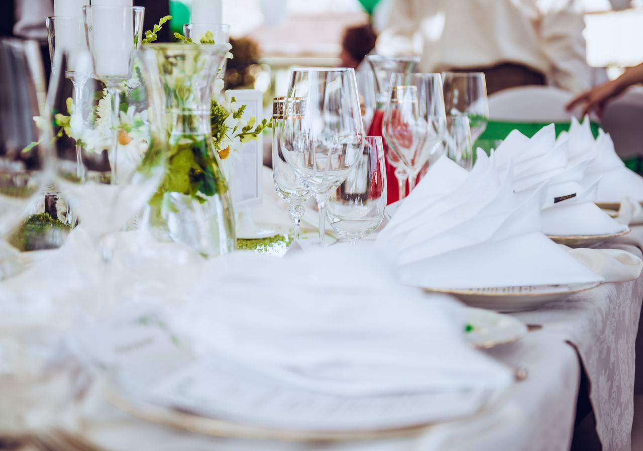 Close-up of place setting at wedding reception