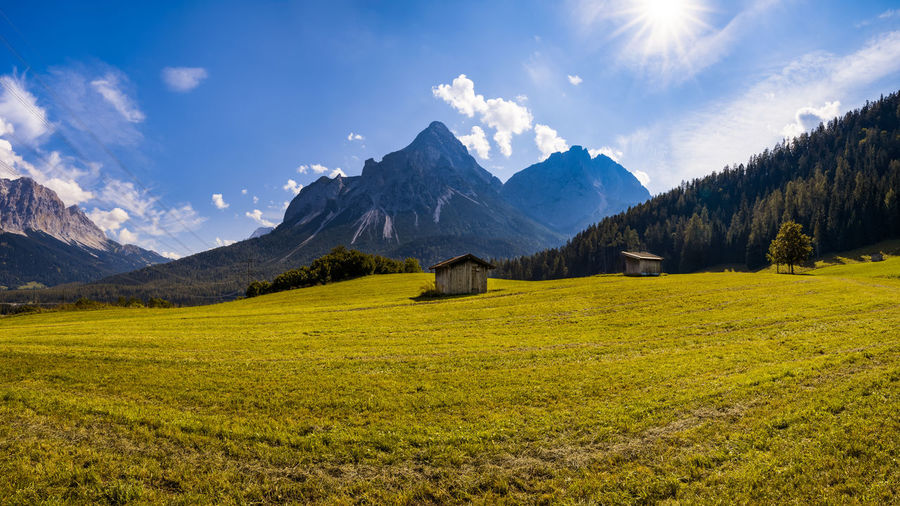 Scenic view of sonnenspitze moutain of tiroler zugspitz arena