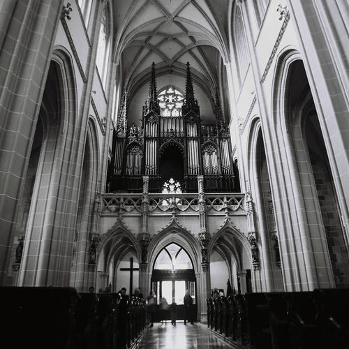 Organ Film Photography Medium Format Religion Place Of Worship Arch Spirituality Indoors  Architecture Built Structure Travel Destinations No People Low Angle View Pew Day Black & White