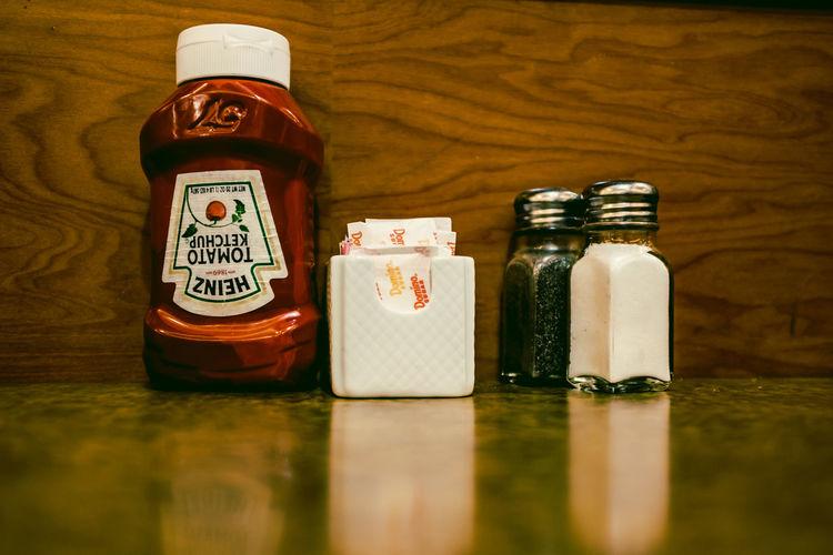 New York City Bottle Close-up Day Diner Freshness Indoors  Jar Ketchup No People Salt Shaker Still Life Table