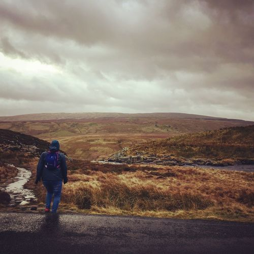 Rear View Sky Full Length Cloud - Sky One Person Nature Landscape Real People Beauty In Nature Scenics Outdoors Hiking Day Leisure Activity Mountain Standing Adventure Men One Man Only People Weardale Remote Cauldron Snout