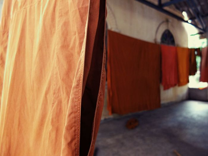 Thailand Thai Temple Hank Monk's Robe Yellow Robe Light And Shadow