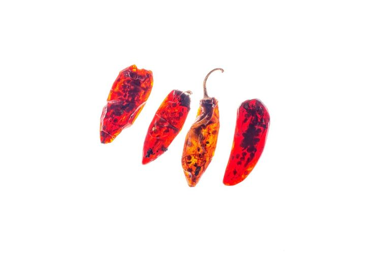 Close-up of red chili pepper against white background