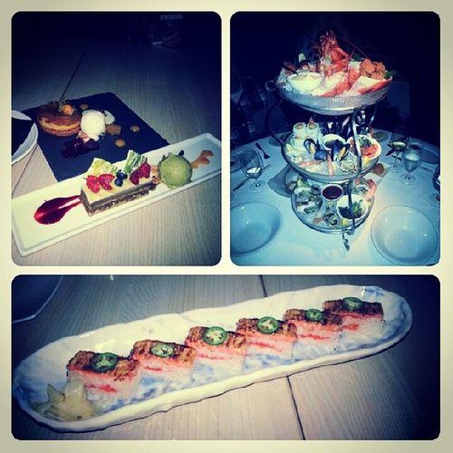 Foodcollage from Bluewatercafe Seafoodplatter Dessert miku salmon aburi Vancouver