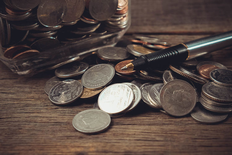 Close-up Coin Currency Day Finance Indoors  Large Group Of Objects Metal No People Still Life Table