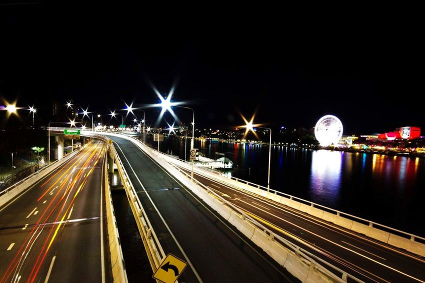 Brisbane city a couple years back. Taken with a 50mm lens on a canon 550D. Long Exposure Illuminated Light Trail Bridge - Man Made Structure City Night EyeEmNewHere Brisbane River Australia First Eyeem Photo