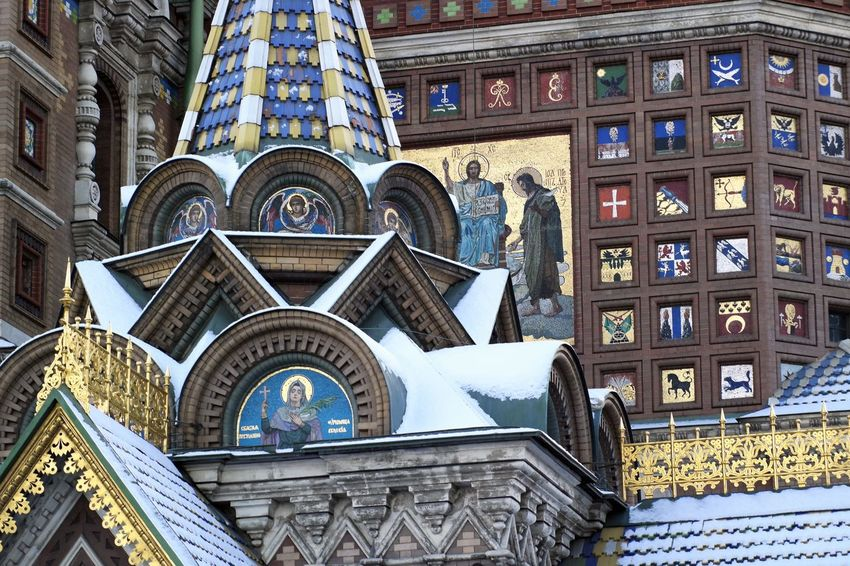 The Church of the Savior on Spilled Blood (Церковь Спаса на Крови) Christian City Emblem Cornices Mosaics Winter Architectural Decoration Architecture Building Exterior Built Structure Church Architecture Day Low Angle View No People Outdoors Place Of Worship Religion Snow Spirituality Travel Destinations Window