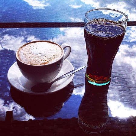 Liquid Lunch Coffee Cup Latte Froth Coffee Coke Coca Cola Cola Soft Drink Non-alcoholic Lunch Cafe Restaurant Al Fresco Lunch Hour Rattan Drinks Share Glass Hot Drink Summer Drink Reflections Clouds